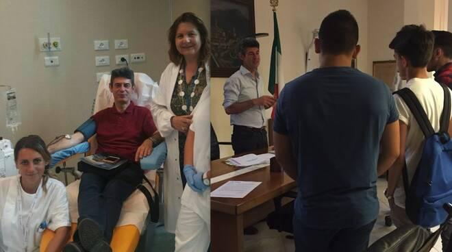 Il sindaco De Pasquale dona il plasma e incontra i suoi studenti