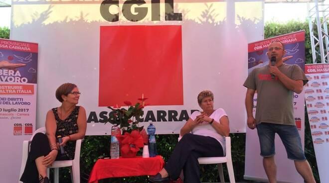 In foto, da sinistra: Daniela Cannizzaro, Susanna Camusso e Valente Rinaldi