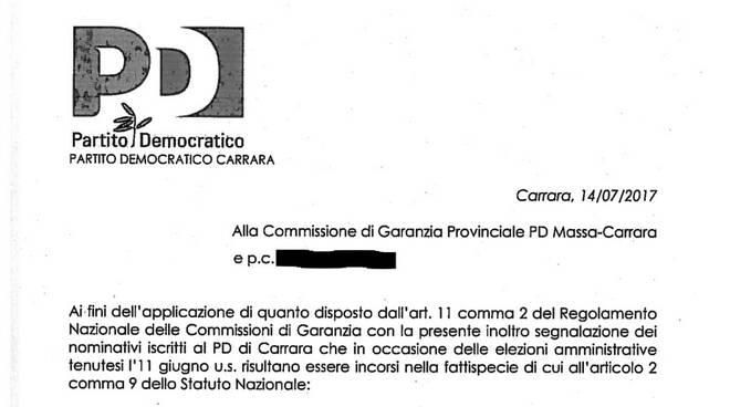 La lettera di segnalazione alla Commissione di Garanzia provinciale