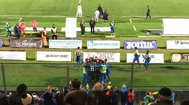 Esultanza gol Tavano Carrarese-Pisa