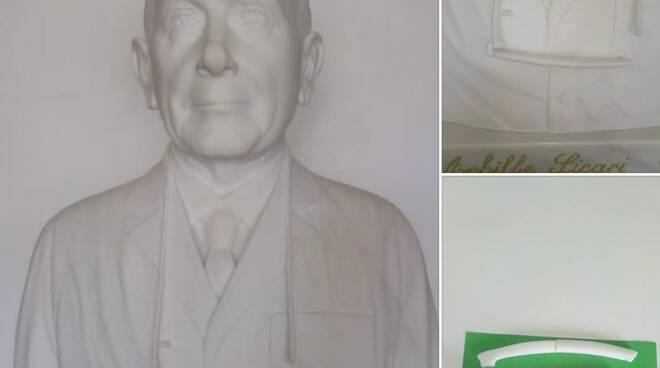 Il busto del professor Sicari con le parti rotte