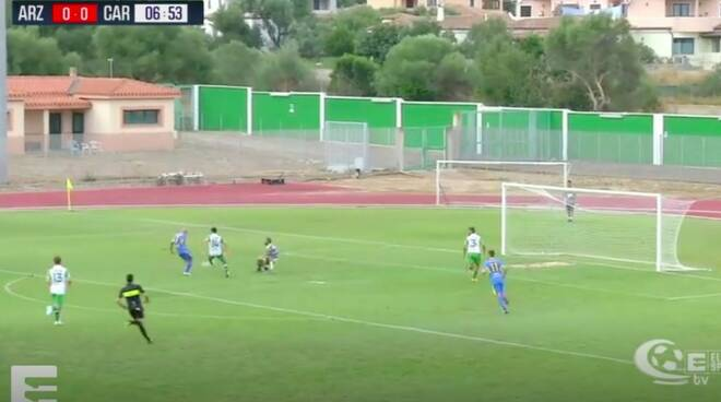 Arzachena-Carrarese 1-5, il momento del primo gol di Maccarone