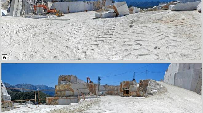 A e B: i piazzali di cava sono invasi da spessi strati di marmettola, pronta al dilavamento da parte delle piogge (cava Canalgrande).