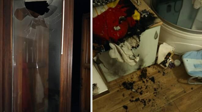 A sinistra il vetro della finestra in frantumi, a destra il fasciatoio incendiato