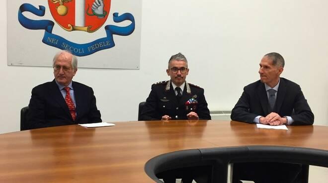 Da sinistra: Aldo Giubilaro, il colonnello Massimo Rosati e il colonnello Tiziano Marchi