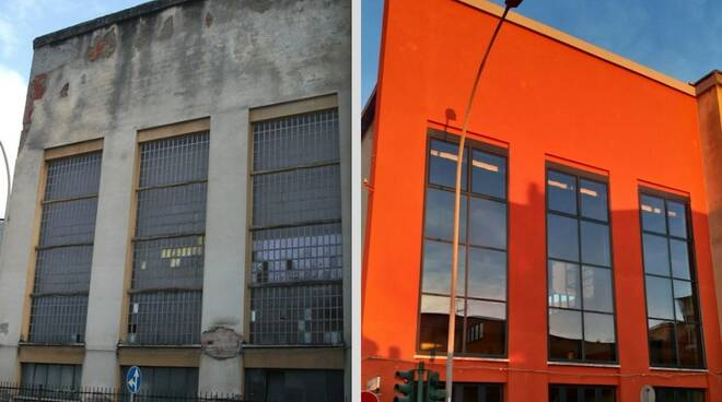 L'esterno della palestra dell'Istituto Toniolo di Massa (prima e dopo)