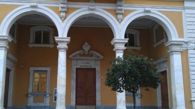 La sede centrale dell'ex-Cassa di Risparmio di Carrara in via Roma a Carrara