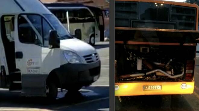 Due dei bus Ctt che hanno subìto i guasti
