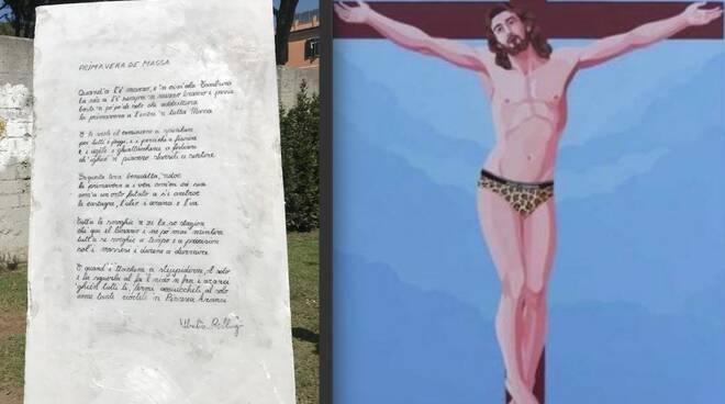 Il monolite con incisa la poesia Primavera de Massa di Bellugi e il Cristo Lgbt di Veneziano