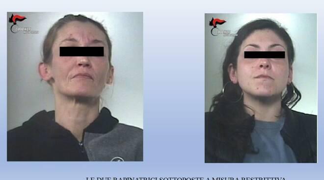 Le due rapinatrici arrestate