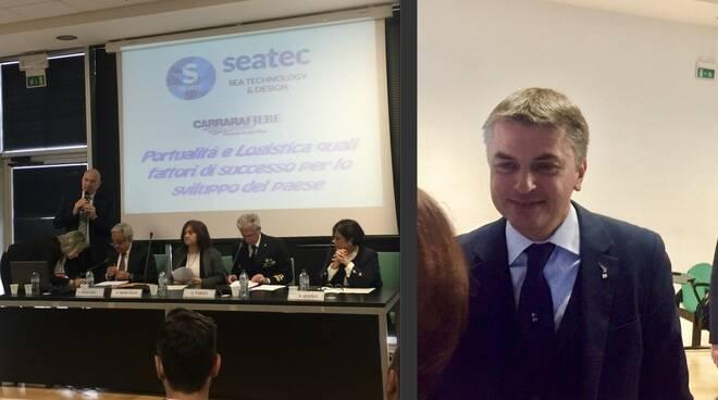 Un momento del convegno a Seatec 2019 e il viceministro Edoardo Rixi