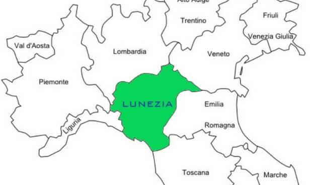 I confini dell'ipotetica regione Lunezia
