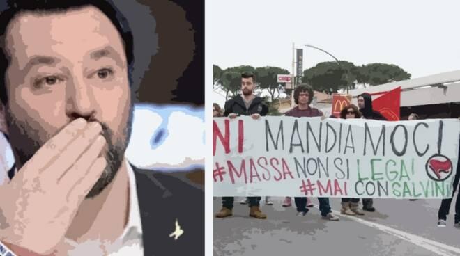 Matteo Salvini e dei manifestanti massesi