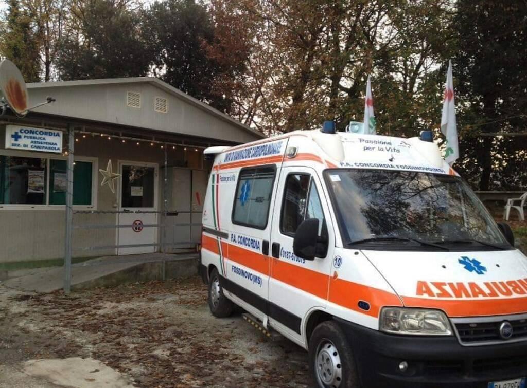 L'ambulanza e la P.A. Concordia di Fosdinovo