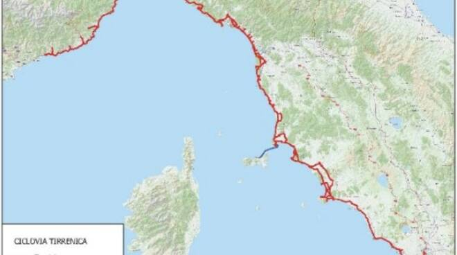 Il tracciato della Ciclovia Tirrenica