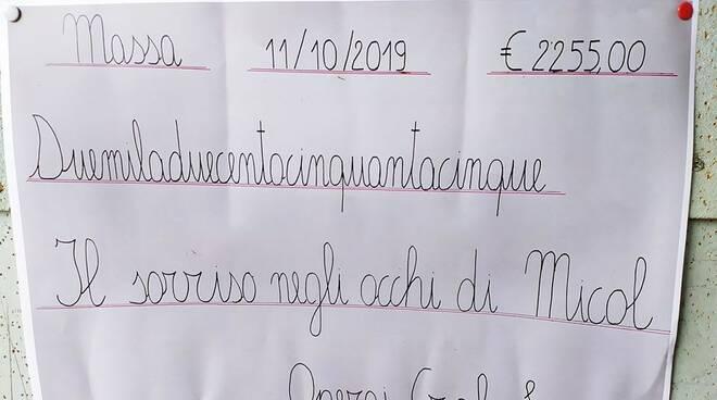 L'assegno per Micol firmato dagli operai del Cral della Sanac di Massa