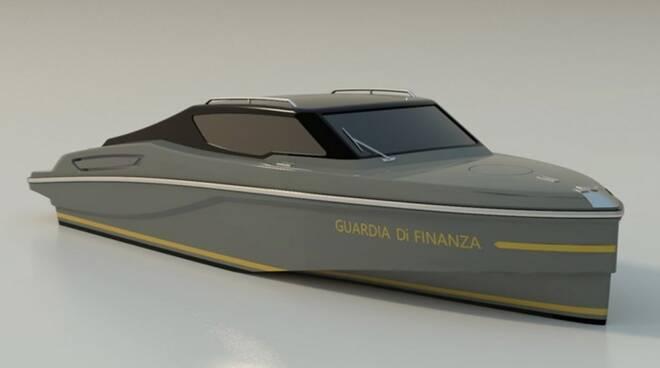 Un render della motovedetta della Guardia di Finanza