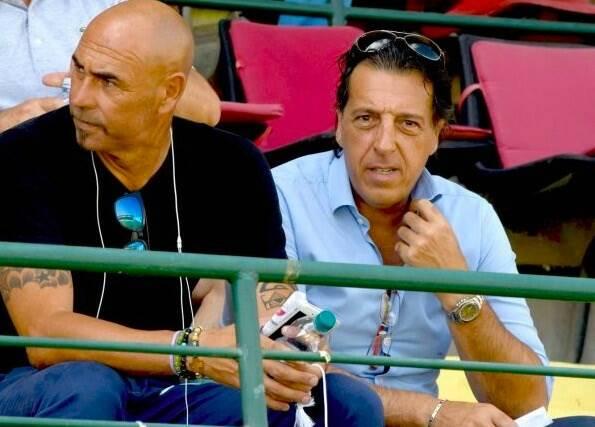 Il ds Berti e il presidente della Carrarese Fabio Oppicelli