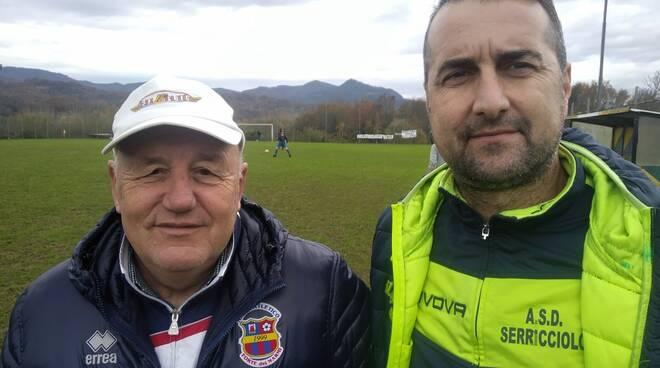 Mister Bertacchini con il colega Galleni in occasione del match contro il Forte dei Marmi.