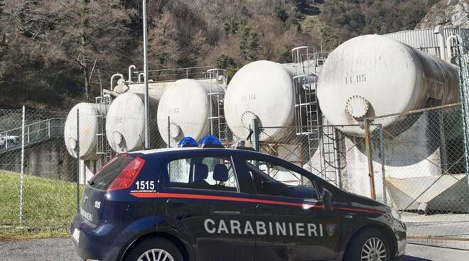 Carabinieri all'impianto del Cartaro