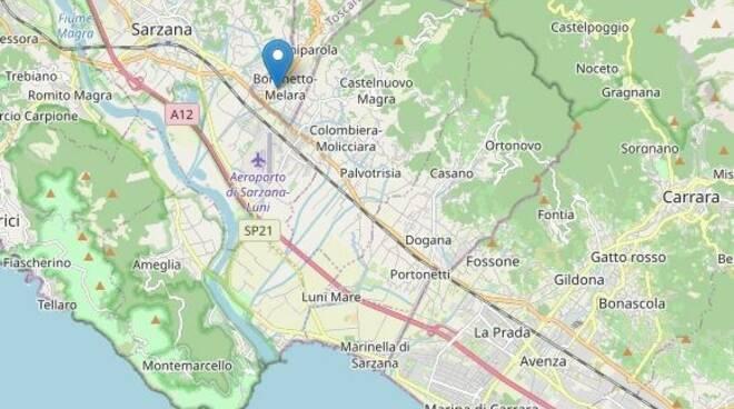 L'epicentro della scossa di terremoto nei pressi di Castelnuovo Magra