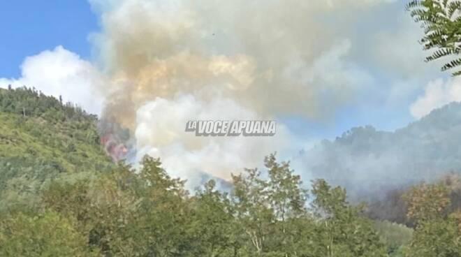 L'incendio nei pressi di Luscignano (Casola in Lunigiana)