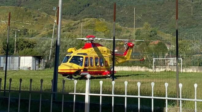L'elisoccorso atterrato al campo del Romagnano