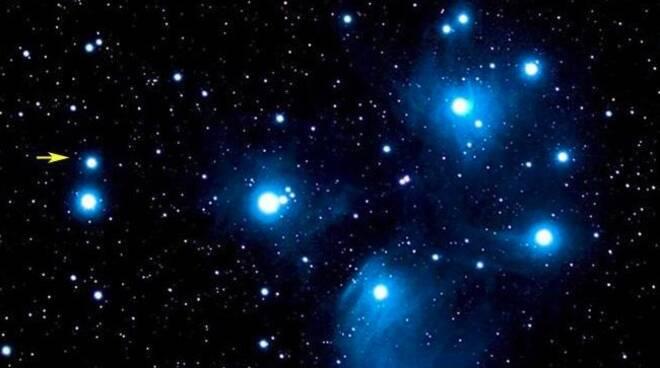 Pleiadi, cielo stellato, notte, planetario