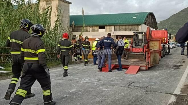 Via Sette Quartieri, a Luni dove si è verificato l'incidente mortale sul lavoro