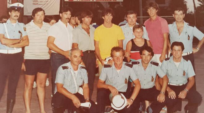 """Paolo Rossi al memorial """"Mauro Frediani"""" dei vigili urbani di Massa nel 1983"""