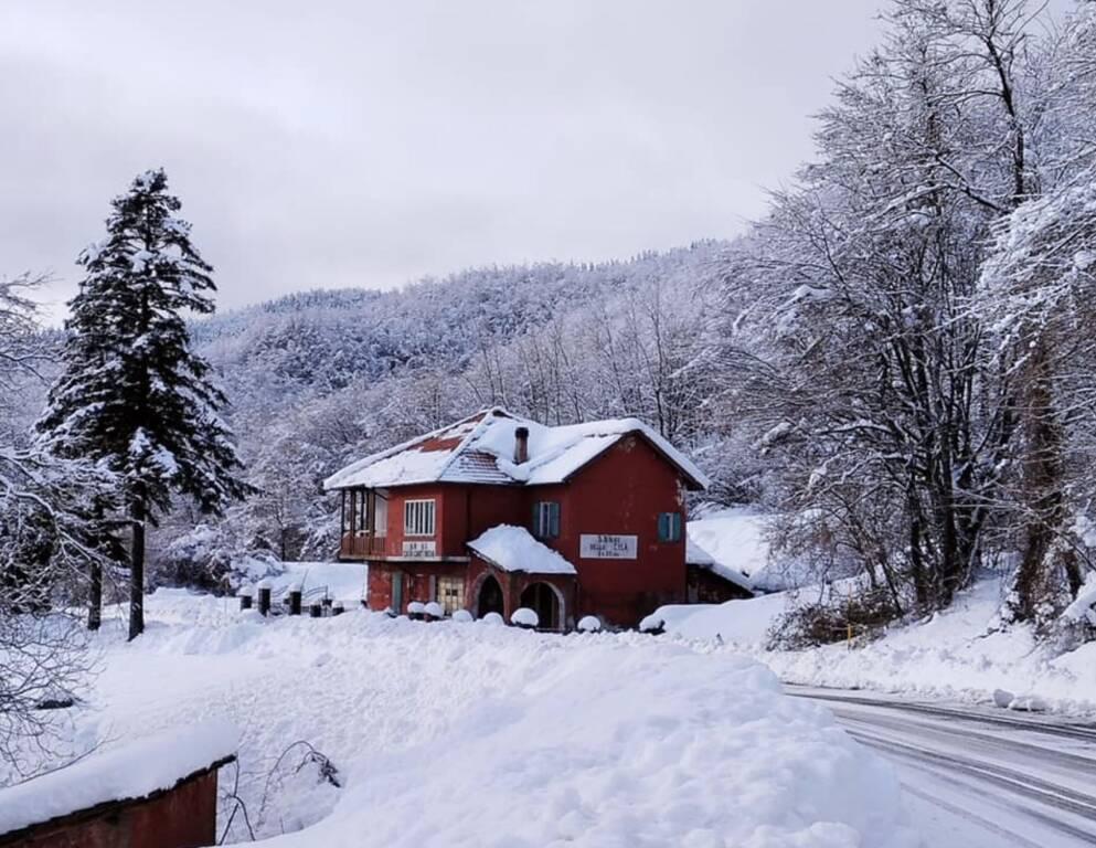 Nevicata neve al passo della cisa