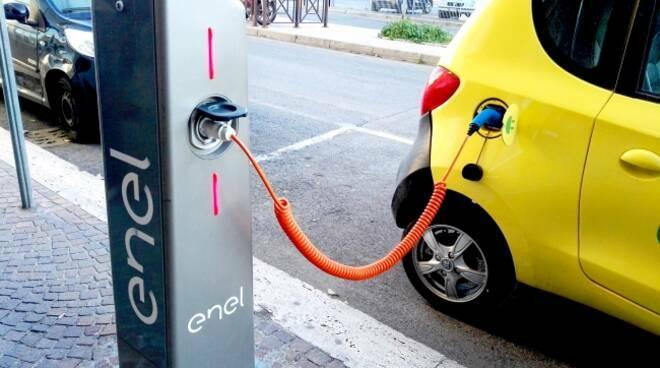 Auto elettriche colonnina ricarica auto