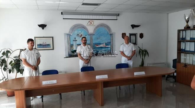 La conferenza di saluto del comandante Luciano Aloia della capitaneria di porto